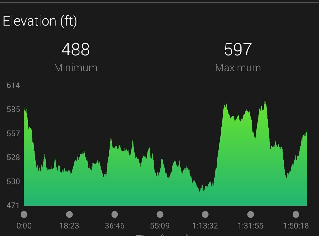 Elevation map for the Cowtown 2020 half marathon course